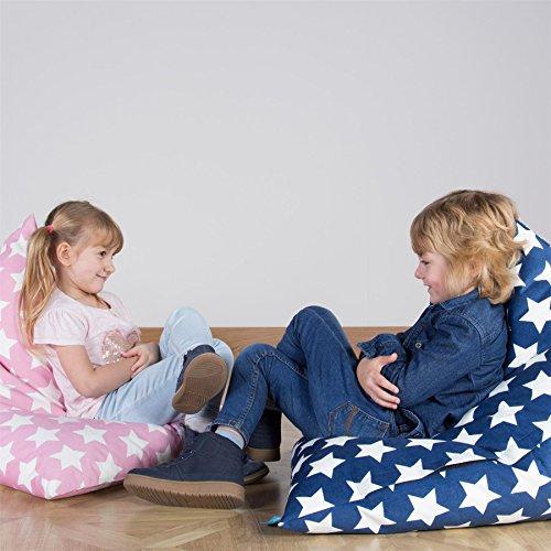 Lounge Pug®, Chaise Enfant, Pouf Enfant, Imprimé Bleu étoile
