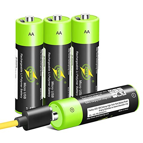 battery for usb charges AA Batteries 1.5V/1700mAh, USB Rechargeable Lithium Battery with 4-in-1 Micro USB Charging Cable, 1.5h Fast-Charge, Not Need Extra Batteries Charger, 3000 Cycles Recyclable Recharge Battery-4 Pack