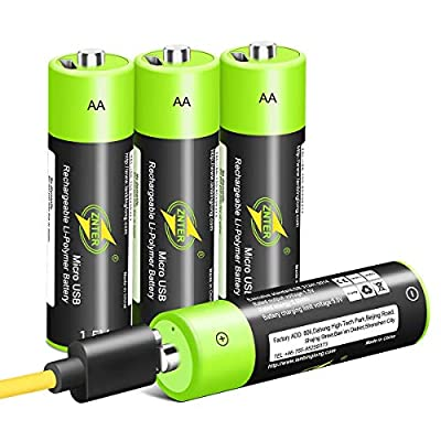 AA Batteries 1.5V/1700mAh, USB Rechargeable Lit...