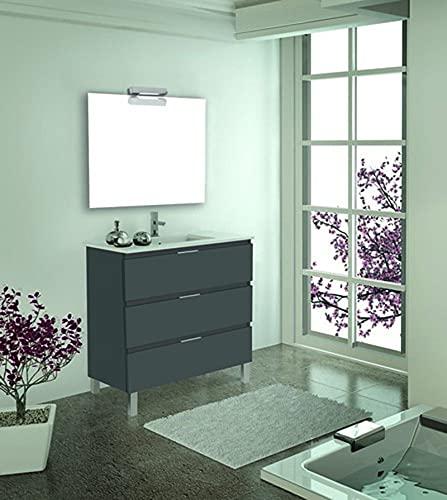 Inmocore Neptuno Mueble de Baño con Patas 3 Cajones con Lavabo Cerámico 1 Seno, Wood, Gris, 60 cm