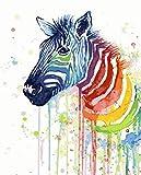 DAHUAJIA - Cuadro enmarcado para pintar por números, diseño de cebra, pintura y semáforo, caligrafía de bellos animales, imagen moderna, decoración para el hogar, 40 x 50 cm