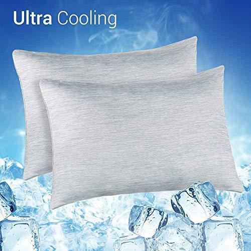Elegear--Funda de Almohada de Refrescantes, Q-MAX Japonés 0,4 Fibra de Enfriamiento, Funda Protege Almohada de Ambos Lados Suaves Transpirables con Cremallera Oculta, Set de 2(Gris, 50x75cm)