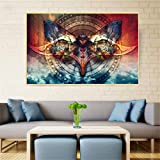 N / A Modern Abstract Color Butterfly Compass Canvas Print Home Living Room Decoration Wall Art Poster Frameless 30x45cm