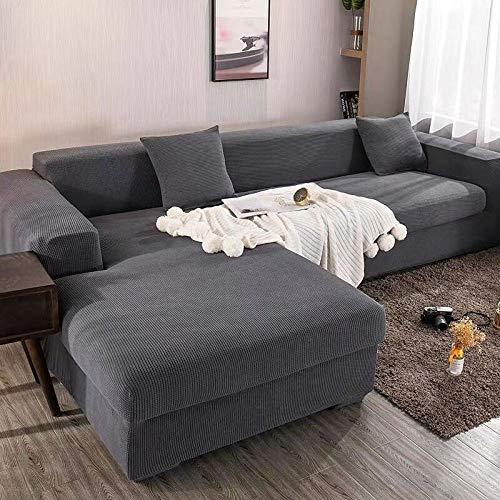 KJHG Sofabezug Couchbezug L Form Sofaüberzug Sofahusse Sofabezug Ecksofa Sofaüberwürfe Couchbezug Sesselbezug Sofa Überwürfe Stretch Hussen L Form 1/2/3/4 Sitzer