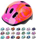 Casco Bicicleta Bebe Helmet Bici Ciclismo para Niño - Cascos para Infantil Bici Helmet para Patinete Ciclismo Montaña BMX Carretera Skate Patines monopatines MV6-2 (XS(44-48cm), Big Flower)