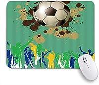 ZOMOY マウスパッド 個性的 おしゃれ 柔軟 かわいい ゴム製裏面 ゲーミングマウスパッド PC ノートパソコン オフィス用 デスクマット 滑り止め 耐久性が良い おもしろいパターン (サッカースポーツファン応援グランジスタイルのお祝いの勝利レトロBursh絵画)