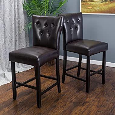 (Set of 2) Pierre Brown Leather Counter Stool