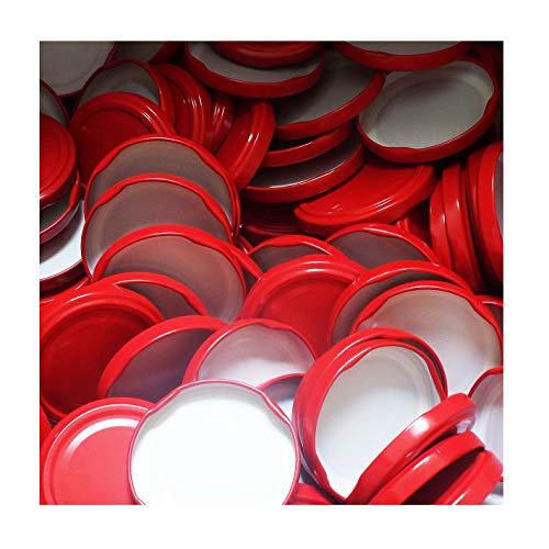 50 Stück X to 63 mm Rot Schraubdeckel für Gläser • Twist Off Deckel Verschluss Ø 63mm • Ersatzdeckel To63 • 25,50,100,150,200,250,500 Stück • Große Auswahl Verschiedene Größen und Farben