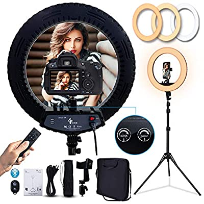 GLOUE 18 Inch Pro Ring Light LED Ringlight Kit with Tripod Dimmable 3000-6000K w/Smartphone Holder for Live Streaming YouTube Vlog Video Shooting Camera Photography Makeup Selfie ???? by GLOUE