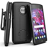 Moto X4 Belt Clip Case, Encased [DuraClip] Slim Fit Holster Shell Combo (w/Rubberized Grip Finish) for Motorola Moto X4-2017 Release (Smooth Black)