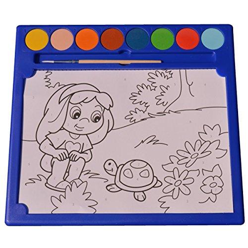 Piccolino Bastelbedarf Malen nach Zahlen - Tiere / Haustiere - Malset mit 6 Vorlagen Ausmalbilder DIN A5, 8 Wasserfarben & 1 Pinsel