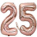 Ouceanwin 2 Palloncini Numero 25 in Oro Rosa, Gigante Foil Palloncini Numeri 25 Mylar Palloncino Gonfiabile 40 ' Elio Pallone per Decorazioni Feste 25 Anni Compleanno Ragazze (100 cm)