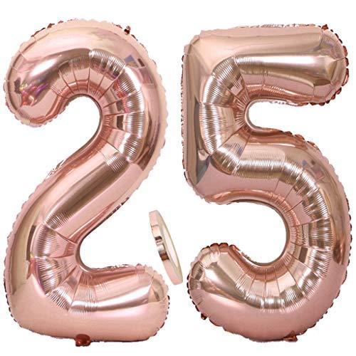 """Ouceanwin 2 Palloncini Numero 25 in Oro Rosa, Gigante Foil Palloncini Numeri 25 Mylar Palloncino Gonfiabile 40"""" Elio Pallone per Decorazioni Feste 25 Anni Compleanno Ragazze (100 cm)"""