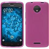 PhoneNatic Case kompatibel mit Lenovo Moto C Plus - pink Silikon Hülle matt + 2 Schutzfolien