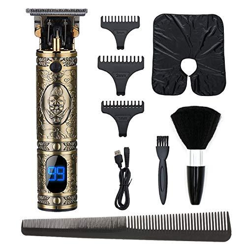 Anself LCD maquinilla cortar pelo, recortadora de hoja en T con 3 peines limitados (1/2/3 mm), 1 cepillo para el cuello y 1 peine de plástico para peluquero
