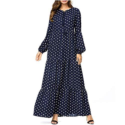 QINJLI Vestido de Mujer, Lunares Manga Larga Columpio Grande Talla Grande Vestidos Musulmanes Sueltos Cintura Alta wea de Maternidad
