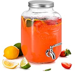 This Drink Dispenser is perfect for all your beverage needs. Made from solid glass this is an obvious addition to your kitchen set. Ideal for garden parties, birthdays, family get-togethers. A modern style stainless steel spigot makes this dispenser ...