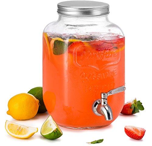 KooK Mason Jar Glass Drink amp Beverage Dispenser with Stainless Steel Spigot 1 Gallon