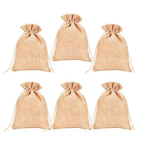 PandaHall Elite 100 Uds marrón Oscuro 18x13cm Bolsas de Embalaje de arpillera Bolsas con cordón para joyería, Almacenamiento de Manualidades DIY