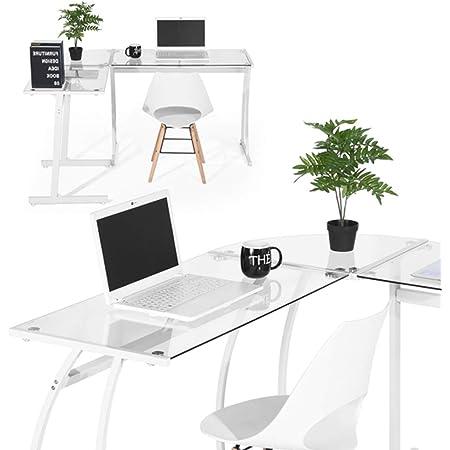 BAKAJI Scrivania PC Moderna Design Angolare Portacomputer ad Angolo Ufficio Cameretta Postazione Lavoro Angolare Nero