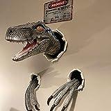 Velociraptor de explosión de pared, estatua de pared de dinosaurios 3D, accesorio de resina de cabeza de dinosaurio montado en la pared, accesorio biónico de dinosaurio para colgar mural, sala de
