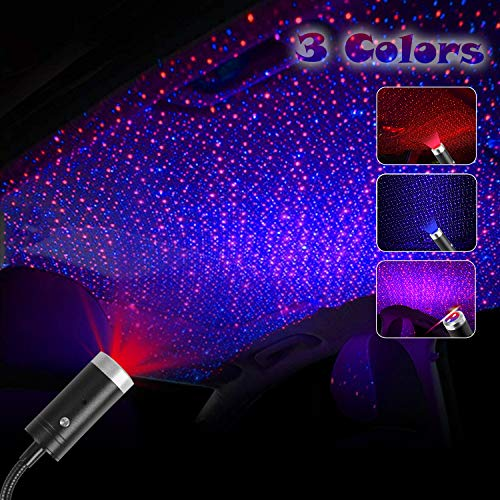 USB Star Projector Night Light, 3 Colors, 9 Lighting Modes Include Music Control and Auto Roating, Aevdor Adjustable Romantic Car Roof Interior LightsDecor for Car Bedroom Party Ceiling (Red&Blue)