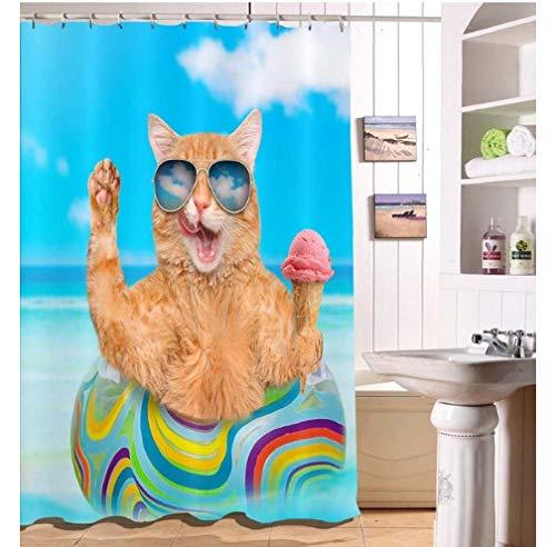 daimin Cat Sonnenbrille EIS Lustige Blue Sky Sea Duschvorhänge Bad Vorhang Stoff Polyester für Badewanne Dekor 180x180cm mit 12 Haken