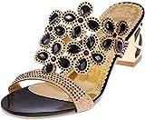 PAOLIAN Sandalias y Chanclas para Mujer Verano 2018 Moda Noche Chanclas con Rhinestone Fiesta Zapatos de Plataforma Tacón Ancho Cuña Open Toe Antideslizante Sandalias (41 EU, Negro)