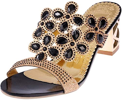 PAOLIAN Sandalias y Chanclas para Mujer Verano 2018 Moda Noche Chanclas con Rhinestone Fiesta Zapatos de Plataforma Tacón Ancho Cuña Open Toe Antideslizante Sandalias