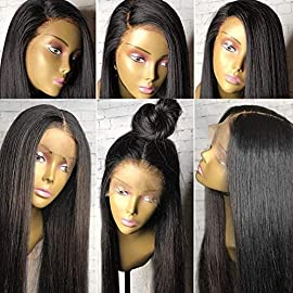 Human hair wigs for Black Women with Baby Hair 360 Lace Frontal Wig Pre Plucked 9A Light Yaki Straight Hair Small Cap 360 Wig Brazilian Virgin Human Hair Wig 360 Lace Wig 130% 12″ Natural Color