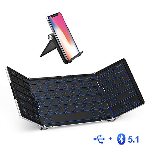 iClever BK05 Bluetooth Keyboard with 3-Color Backlight, Bluetooth 5.1 Multi-Device Foldable Keyboard with Aluminum Alloy Base for iOS Windows Android Tablets, Smartphones, Laptops, PC and More