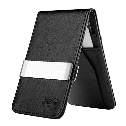 Zodaca Horizontal Genuine Leather Card Holder Wallet with Money Clip, Black