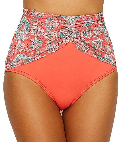 Coco Reef Women's High Waist Bikini Bottom Swimsuit, Tangerine, X-Large