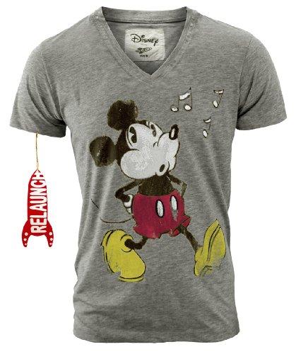 Disney Relaunch Mickey Mouse Retro Comic Herren Shirt Whistle Sports Grey Gr. XL