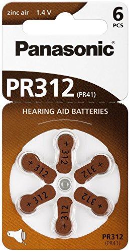 Panasonic Lot de 6 Piles Bouton en Zinc pour appareils auditifs 1,4 V 180 mAh