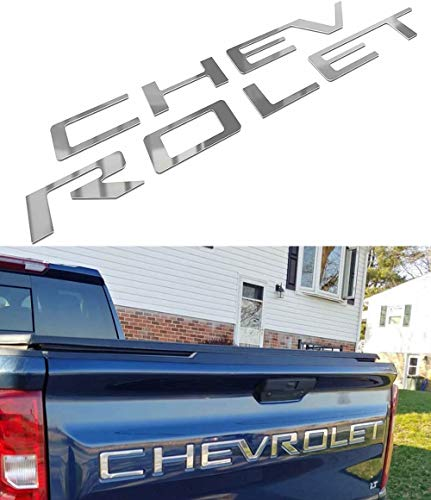 Tailgate Inserts Letters Compatible with Chevy Silverado, 3D Raised & Strong Adhesive Decals Letters, Tailgate Emblems Inserts Letters (Chrome)