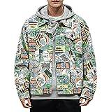 Herren Denim Jacket Trucker Mantel, Streetwear Graffiti Print Denim Jacke Casual Outwear Tops, Moderne Outdoor Hip Hop Urban New York Mode Bomber Jacke (Color : Color, Size :...