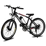 ANCHEER Power Plus Electric Mountain Bike, 26'' Electric Bike with Removable 36V 8Ah Lithium-Ion Battery, 21 Speed Shifter (Black)