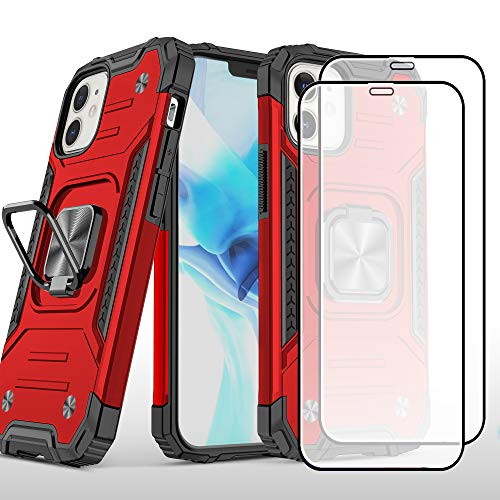 """Rebex Compatible with iPhone 12 Case iPhone 12 Pro Cover,6.1"""" with Tempered Glass Screen Protector [2Pack],Tough Heavy Protective Ring Kickstand Holder Grip Metal Heavy Duty Shockproof (Red)"""