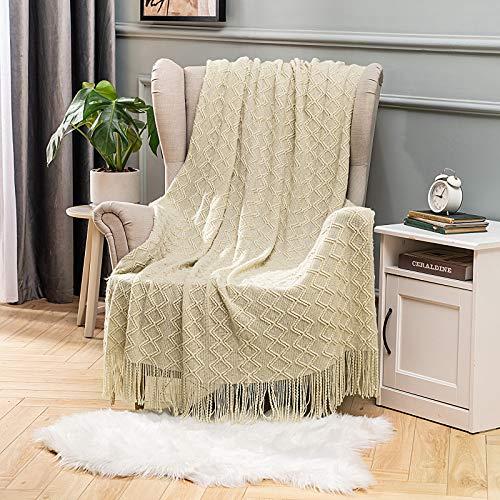 MIULEE Kuscheldecke Diamant Fleecedecke Decke Weich Flauschig Einfarbig Wohndecken Couchdecke Sofadecke Blanket für Bett Sofa Schlafzimmer Büro, 125x150 cm Beige