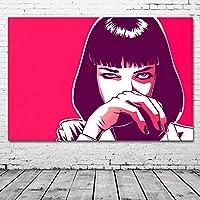 パルプフィクションシルクペインティングウォールアート画像ピンクアートワークキャンバスポスターとプリント現代ホームデコレーション/ 60x90cm-フレームなし