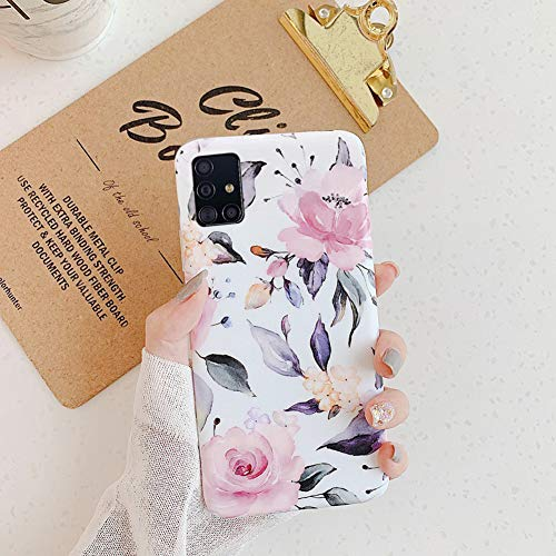 QPOLLY Kompatibel mit Samsung Galaxy A51 Hülle Bunt Blume Muster Schutzhülle Ultra dünn Weiches TPU Silikon Bumper Handyhülle Case für Galaxy A51,Pink