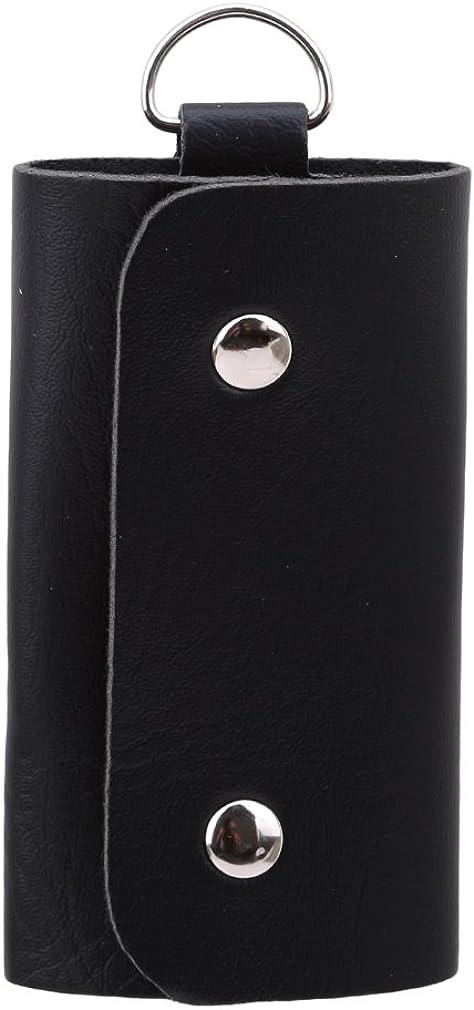 Iumer Pocket Car Key Fob Holder Keyring Organizer Fold Case PU Black Keychain Gift Him