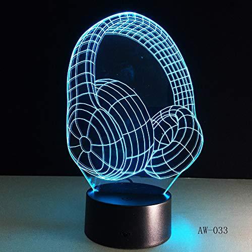 suhang 3D DJ koptelefoon illusie lamp Studio Monitor headset HiFi muziek hoofdtelefoon nachtlampje kleurrijke tafellamp thuis cadeau 7 Colors Geen controller.