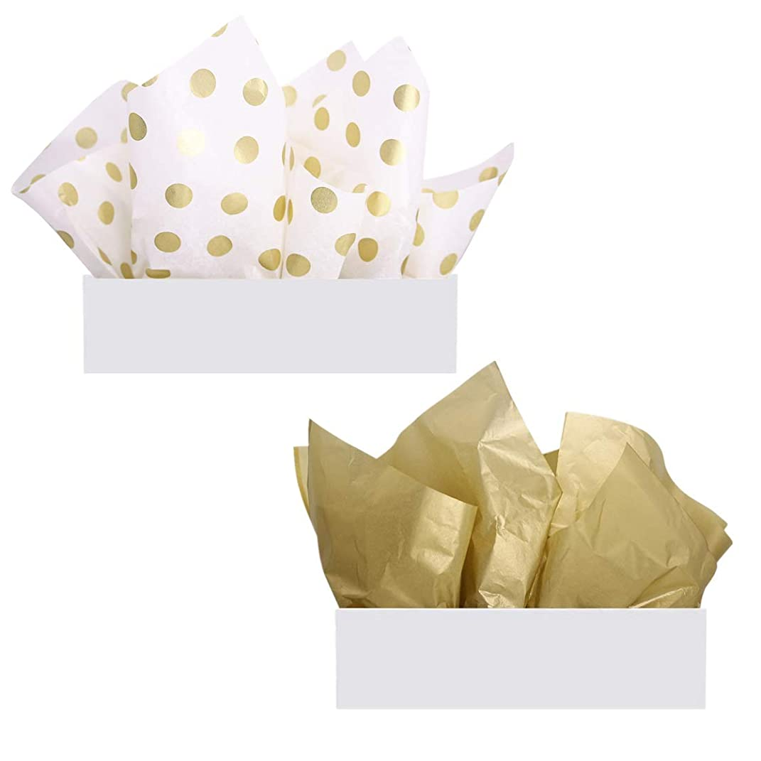 UNIQOOO 60 Sheets Premium Metallic Gold & Gold Polka Dot Tissue Gift Wrap Paper Bulk, 20