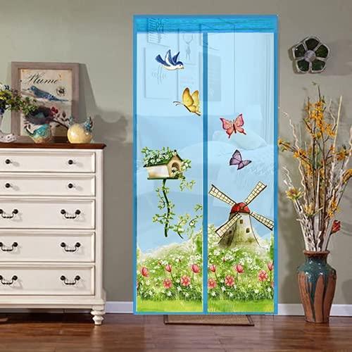 Fly Screen Door, Magnetic Fly Screen Door, Mosquito Net, Easy to Attach, Translucent Magnetic Curtain for Balcony Door Living Room Door No Drilling Required (2,140 X210 cm)