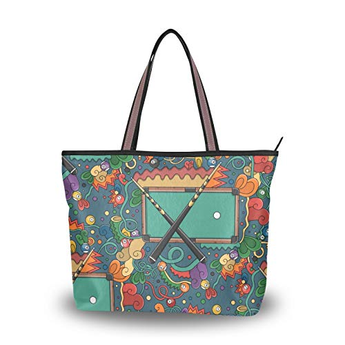 NaiiaN Geldbörse Einkaufen für Frauen Mädchen Damen Student Umhängetaschen Leichte Tragetasche Einkaufstasche Billardtisch Snooker Handtaschen