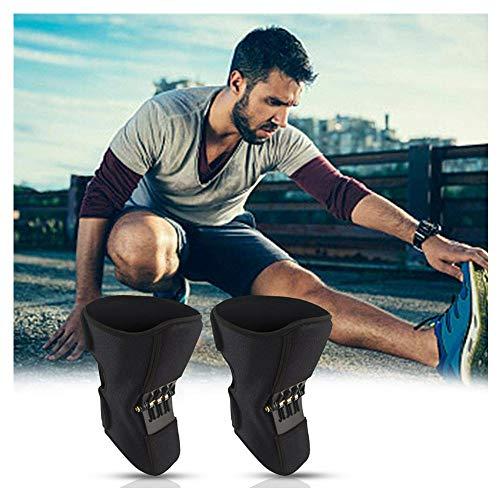 Stützknieorthese Knieorthese Pads Knie-Booster Kraftvolle Zugfeder für Gelenkschmerzen Laufverletzung Rehabilitation und Schutz gegen Verletzungen (Schwarz C)