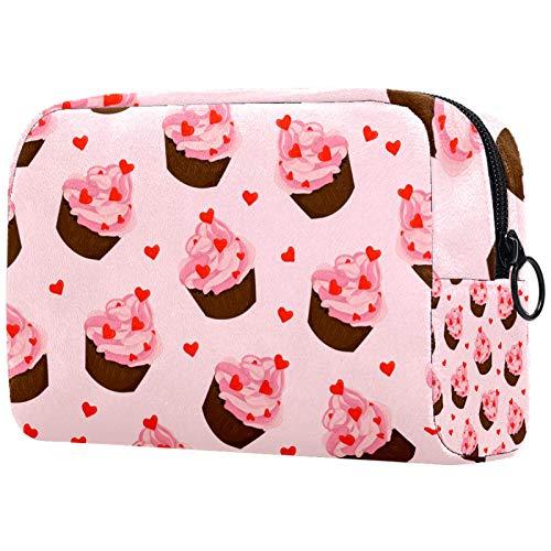 Bolsa de Pinceles de Maquillaje Personalizada, Bolsas de Aseo portátiles para Mujer, Bolso cosmético, Organizador de Viaje, Taza de Amor, Pastel