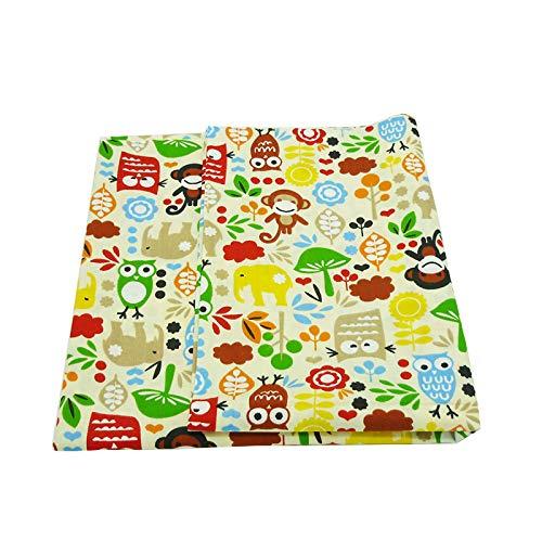 SHENGZE 50cm * 160cm/Pieza búhos Mono Impreso algodón Tela para Colcha de retales, Color decoración Funda de Almohada Costura Artesanía